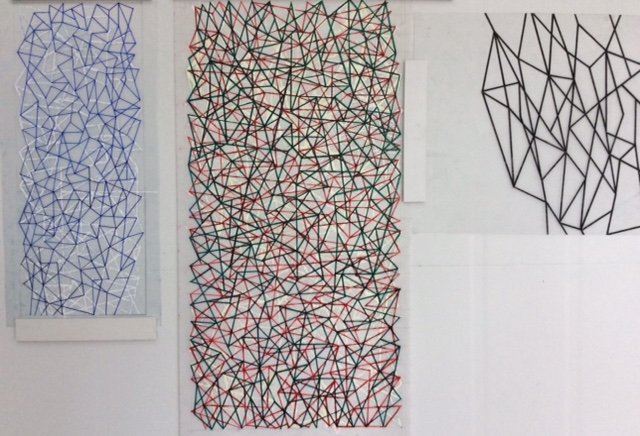 Lesley Dumbrell's drawings pinned to the wall in her studio